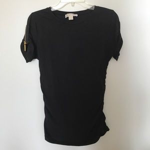 Michael Kors Sexy Black T-shirt with gold zippers